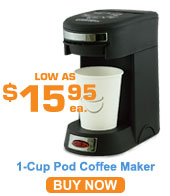 1 Cup Pod Coffee Maker; Black