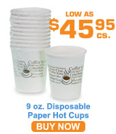 Hot Paper Cups, 9 oz. Wrapped ; 1000/cs.