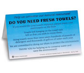 Fresh Towels? Table Tents; 100/pk.