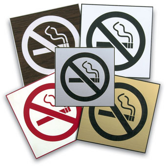 "Engraved ""No Smoking"" Symbol Signs"