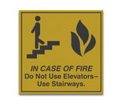 """6""""x6"""" """"In Case Of Fire"""" Engraved Gold Sign"""