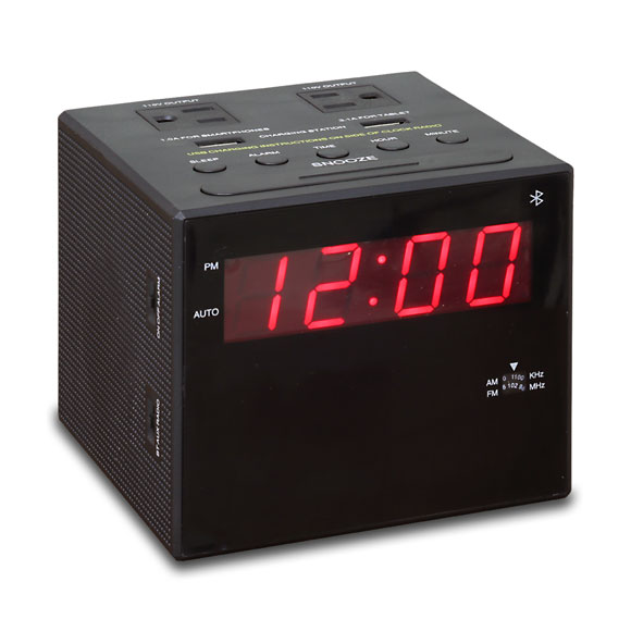 power station alarm clock radio w bluetooth connectivity. Black Bedroom Furniture Sets. Home Design Ideas