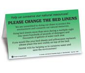 Please Change Linens Bed Tent Sign, 100/pk